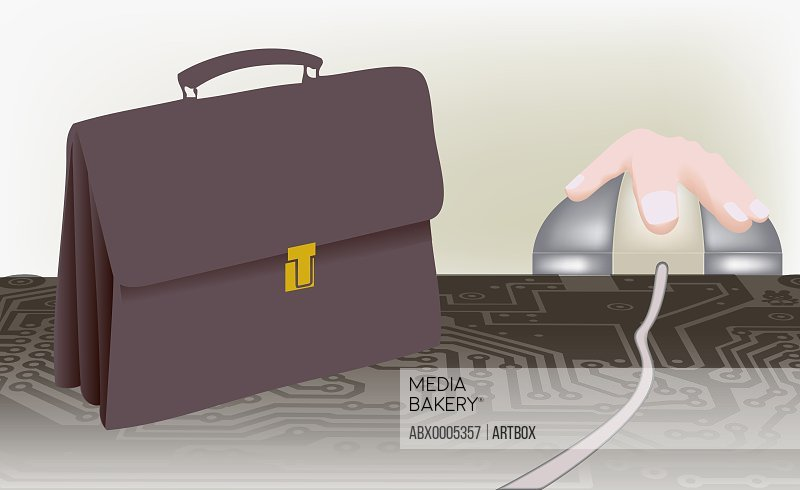 Briefcase and a human hand on a mouse
