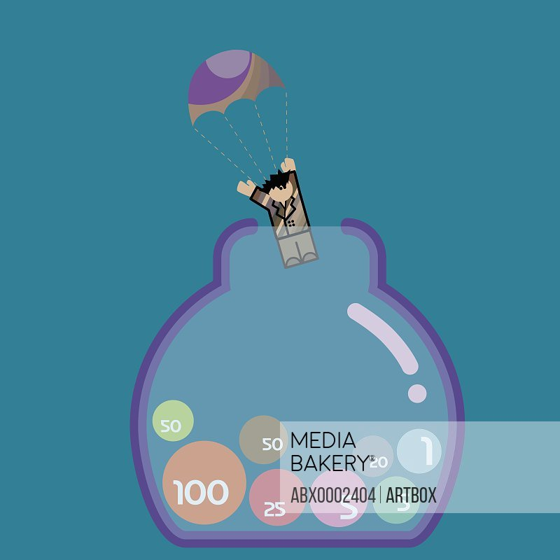 Businessman with a parachute landing in a jar