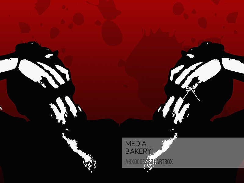 Silhouette of two people clenching their mouth