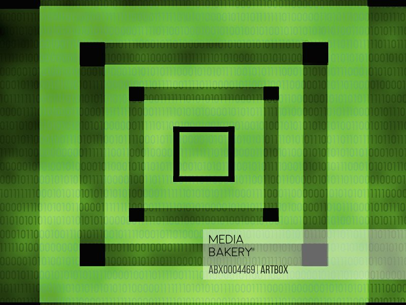 Concentric squares on a green background