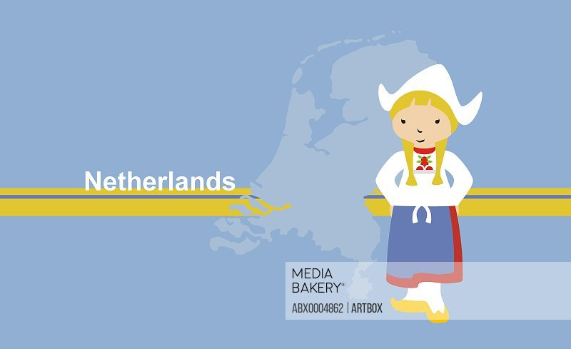 Girl wearing traditional clothing near map of Netherlands