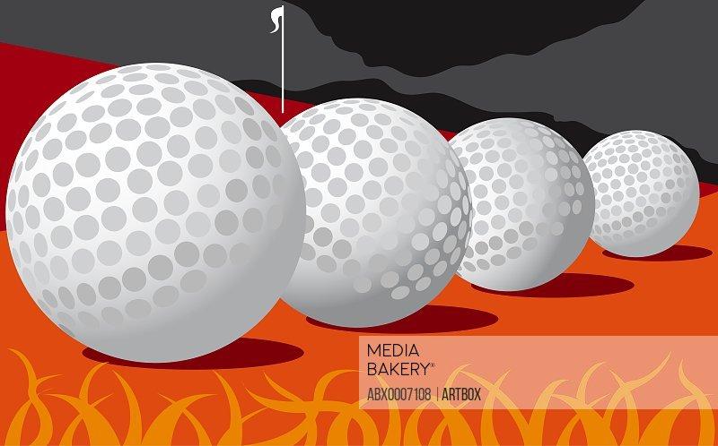 Close-up of a row of golf balls