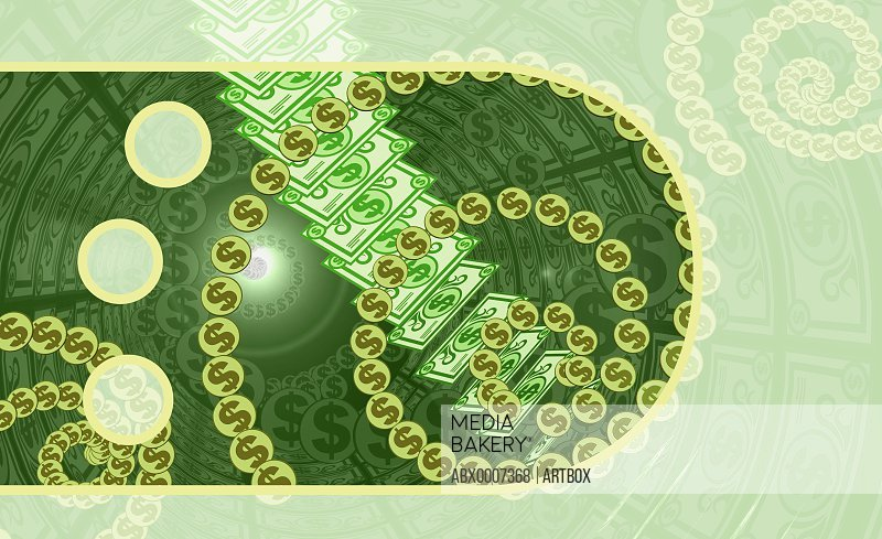 Dollar coins with paper currency