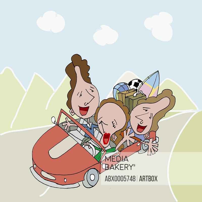 Three women traveling in a car