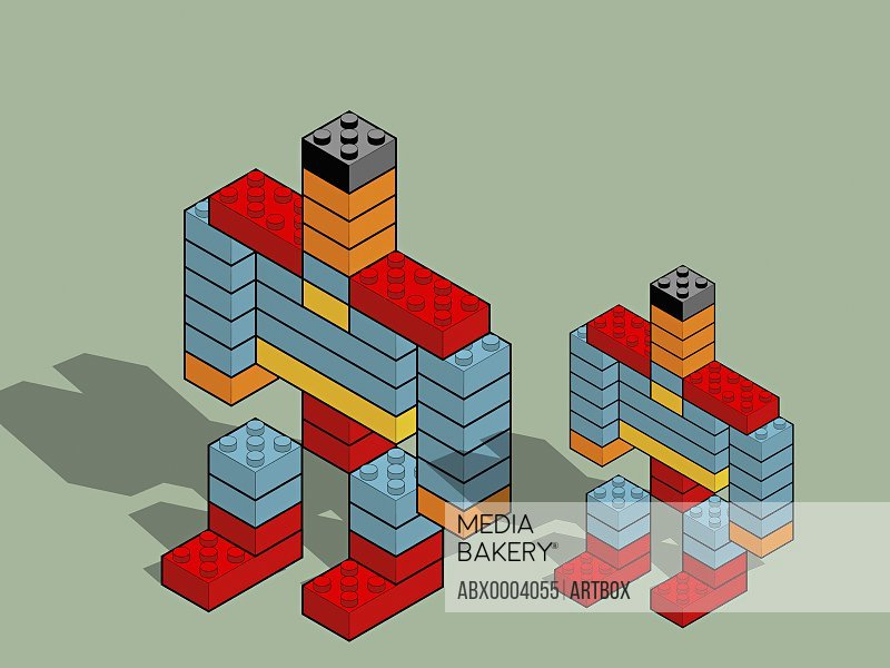 Robots made with plastic blocks