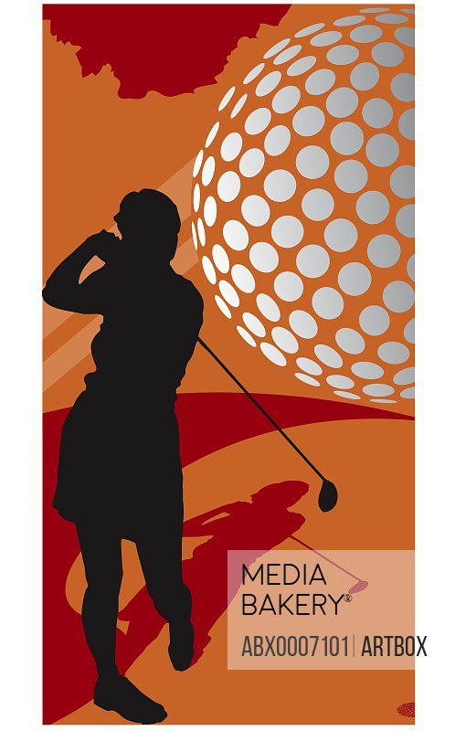 Silhouette of a woman swinging a golf club