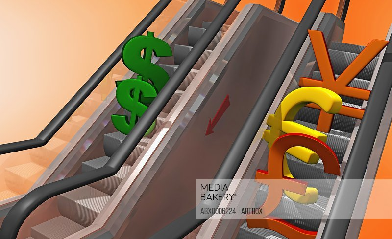 High angle view of currency signs on an escalator