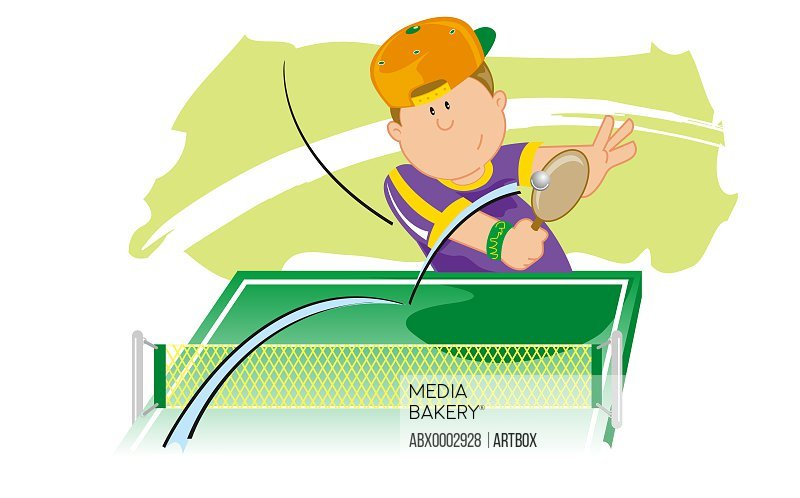 High angle view of a boy playing table tennis