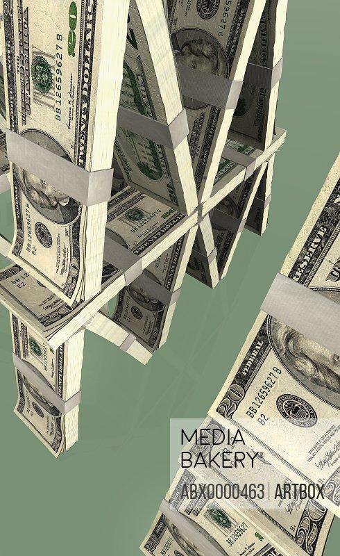 Pyramid of American twenty dollar bills