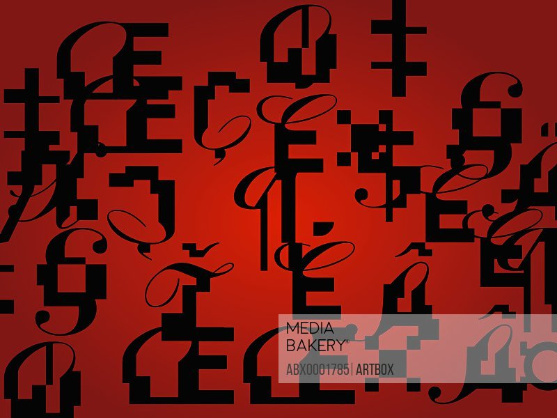 Alphabets and signs on a red background