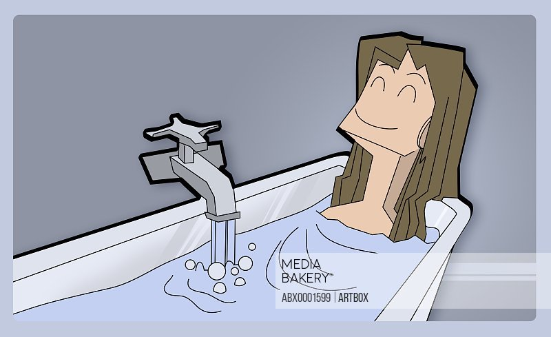 Girl lying in a bathtub