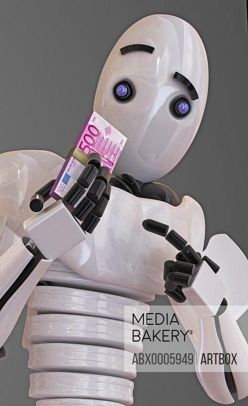 Robot holding a bundle of five hundred Euro banknotes