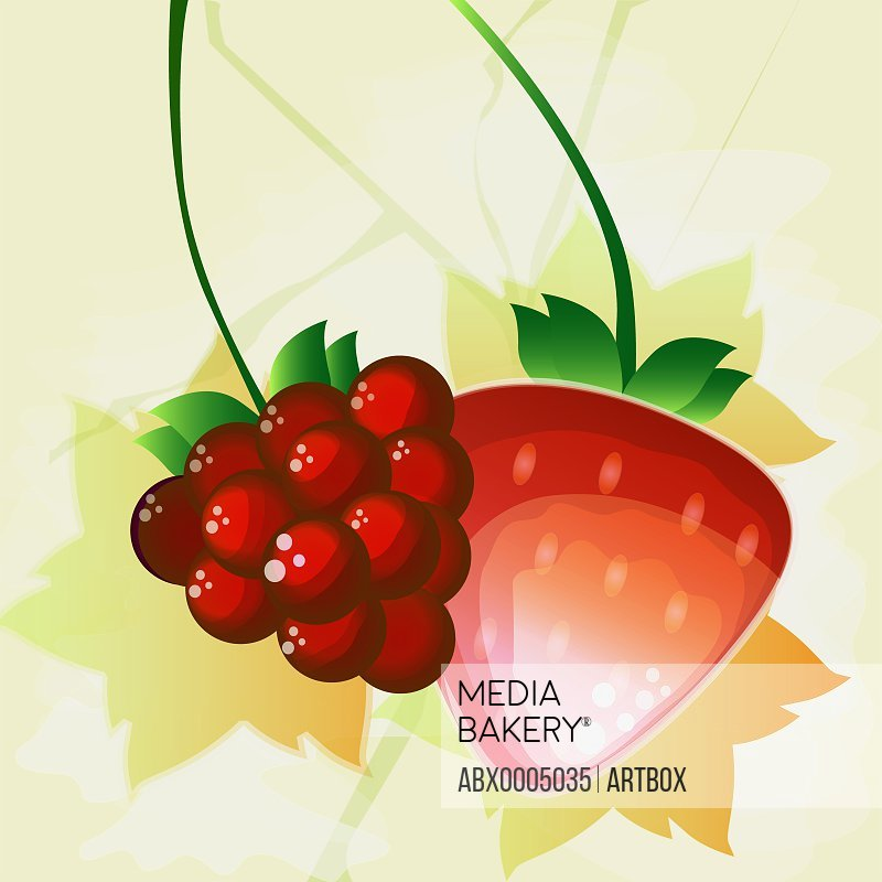 Red grapes with a strawberry