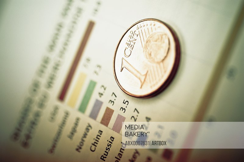 Close-up of a one Euro coin on a bar graph