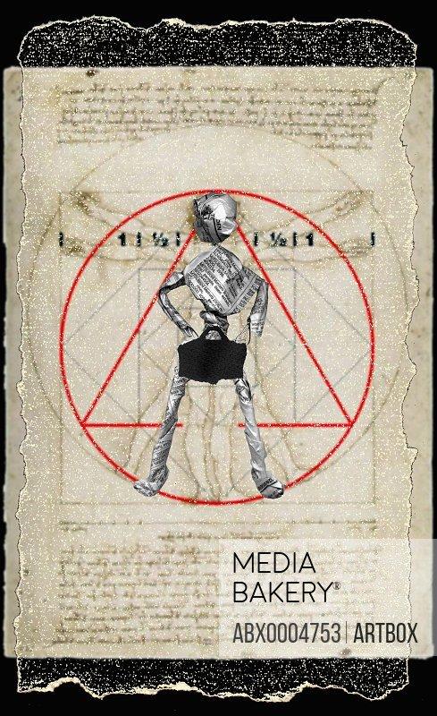 Close-up of a newspaper figurine as the Vitruvian Man