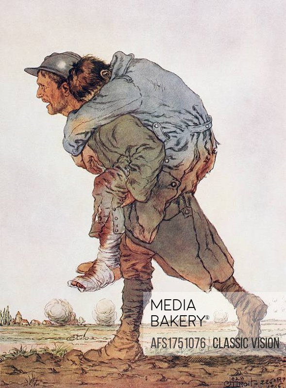 Fraternité  A soldier carries a wounded comrade on his back from the scene of battle  After a watercolour by Jean Droit  From L´Illustration, 1917