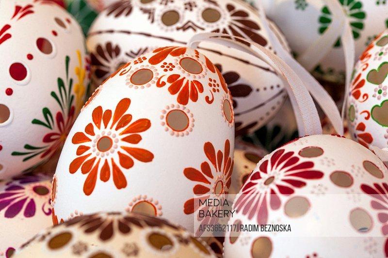 Traditional easter eggs, Prague Czech Republic, Europe.
