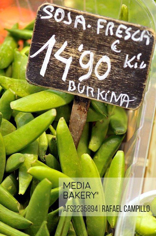 Fresh soy. La Boquería market, Barcelona. Catalonia, Spain