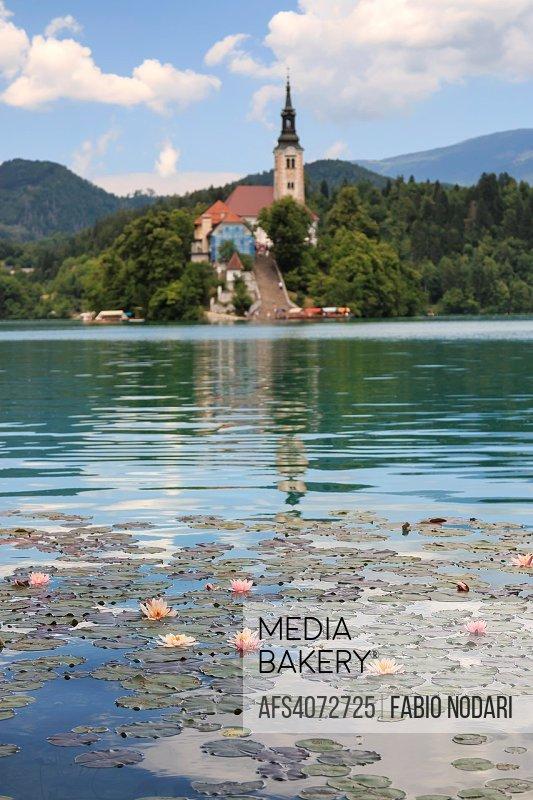 Lake Bled in Slovenia with Cerkev Marijinega Vnebovzetja Church in island.
