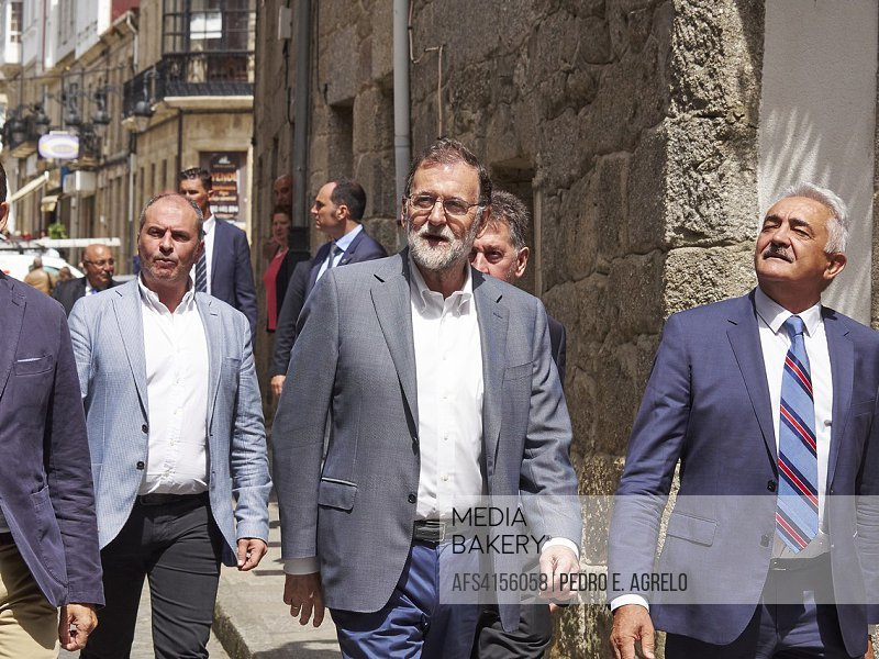 The president of the government of Spain, Mariano Rajoy, travel the streets of Chantada, Lugo, during a political event in Galicia, Spain.