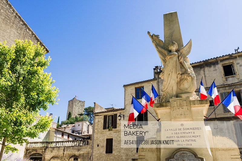 Monument to locals who died in both wars, Sommières, Nîmes, Gard, Occitanie, France.