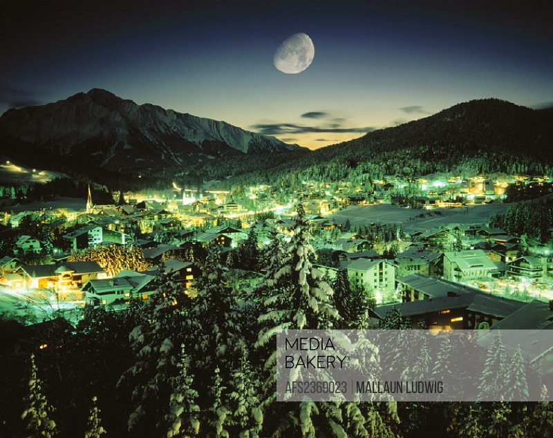 10225823, moon, at night, Austria, Europe, Seefeld, firs, Tyrol, overview, winter,