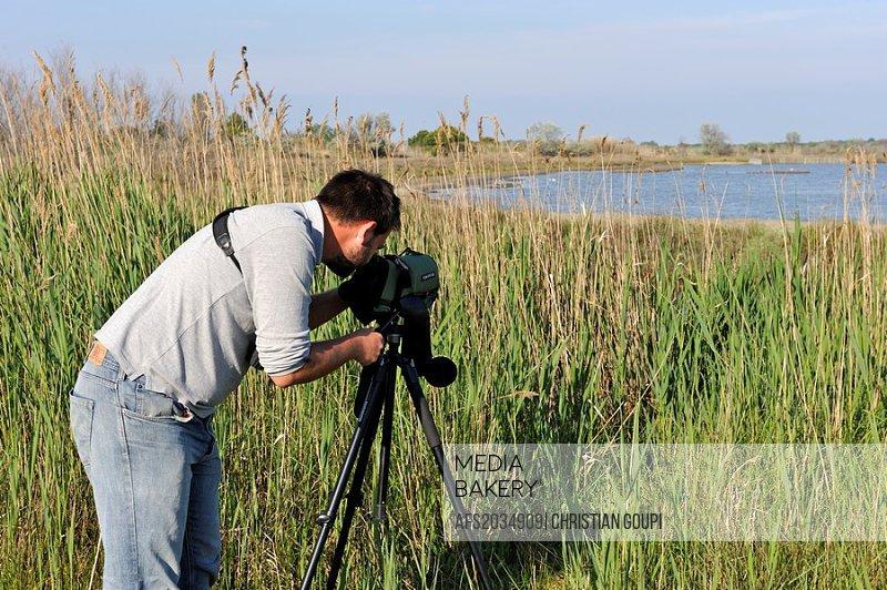 bird watching with binoculars, Sicarex lagoon, Grau du Roi, Gard department, France, Europe