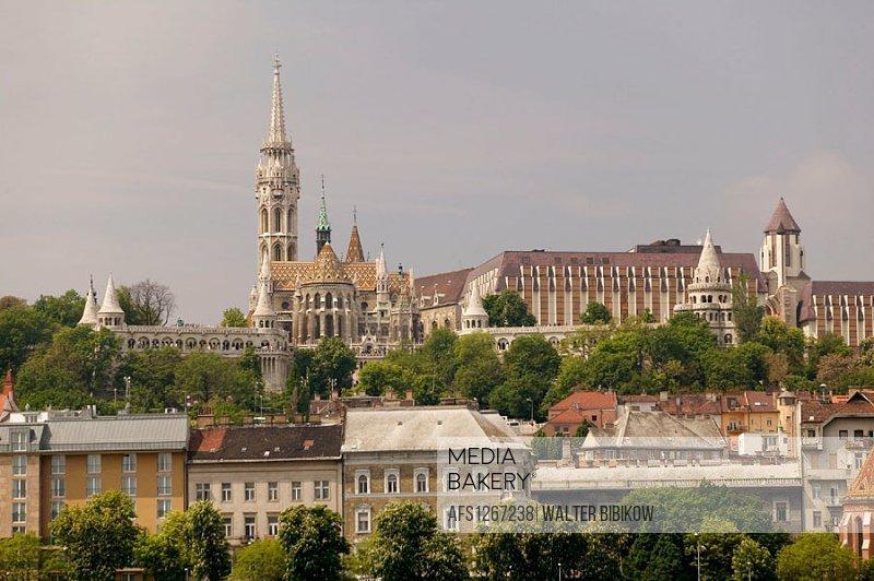 Danube River & Castle Hill from Pest, daytime. Budapest. Hungary. 2004.