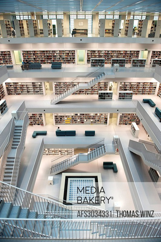 Interior of New Library in Stuttgart , Germany