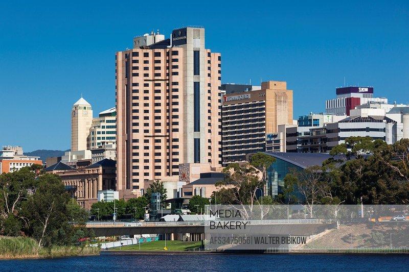 Australia, South Australia, Adelaide, skyline from Torrens Lake, daytime.