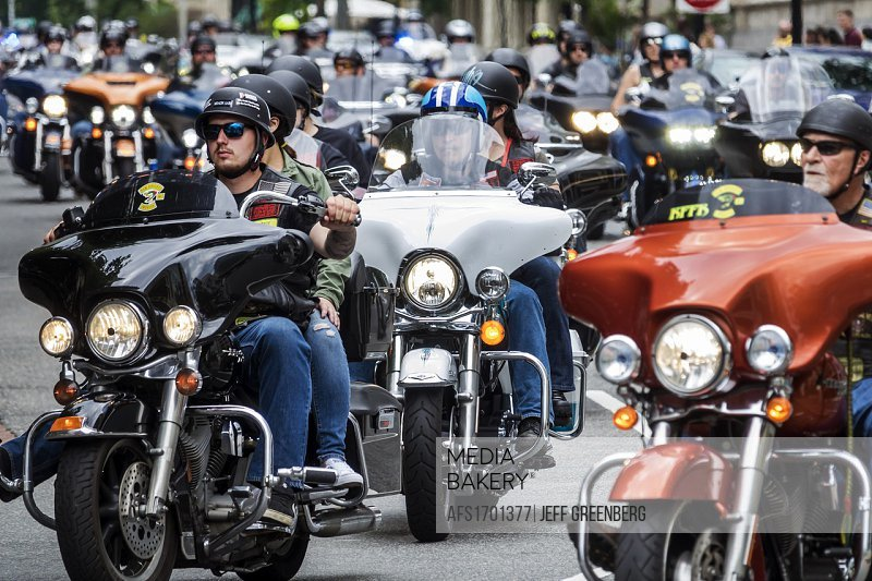 Washington DC, District of Columbia, Downtown, Rolling Thunder, motorcycle rally, participant, riding,