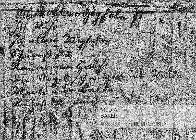 Wanderer´s Nightsong or Wandrers Nachtlied, written 1780 onto a wooden wall , Handwritten by Johann Wolfgang von Goethe, 1749 - 1832, a German poet,.