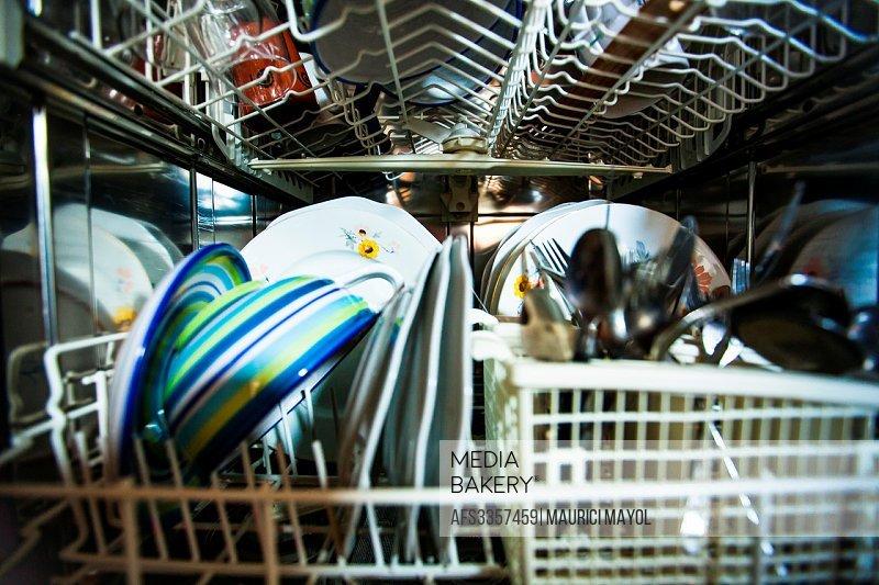Inside Dishwasher.