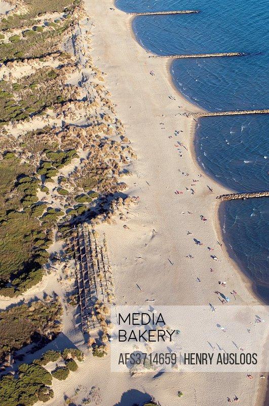 France, Camargue, Gard department, Le-Grau-du-Roi, Beach of Espiguette.