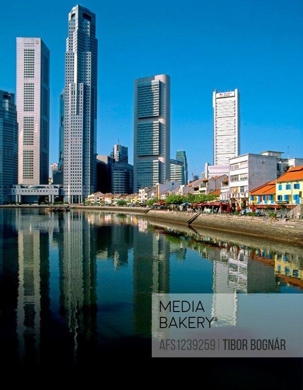 Singapore. Business District, Boat Quay. Singapore River