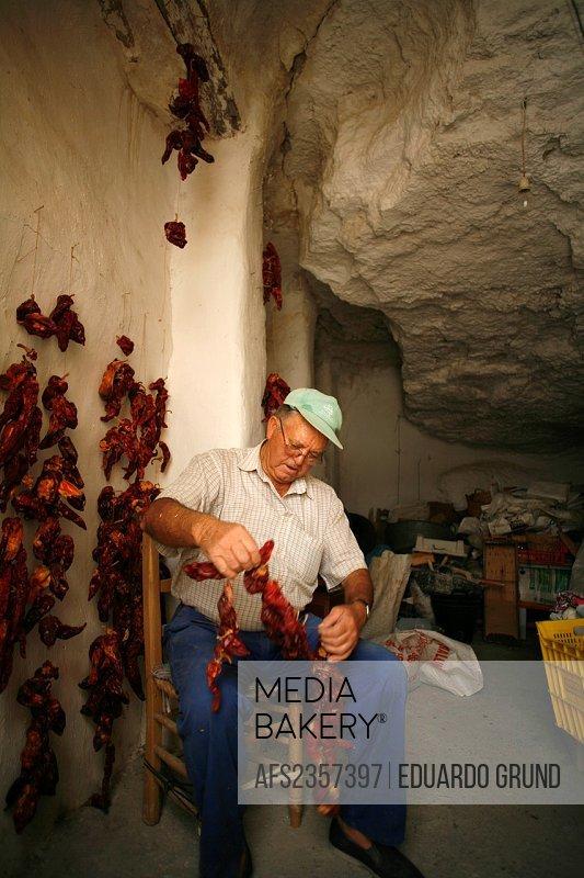 Preservation of food in Cave dwellings  Galera, Granada, Andalusia, Spain