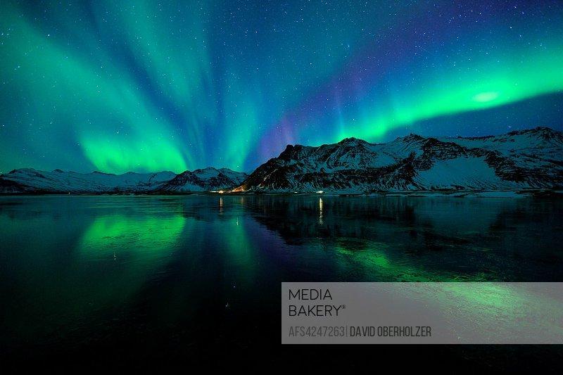 Aurora Borealis, mountains, Europe, sky appearance, Island, sceneries, light appearance, night, north light, polar light, lake, reflexion, volcano isl...