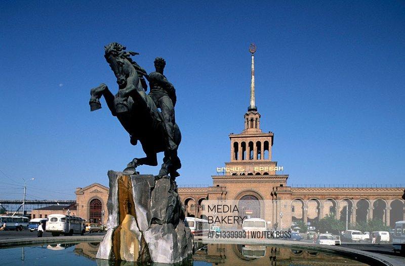 Statue of David of Sasun, epic Armenian folk hero, in the Republic Square, Yerevan. Armenia
