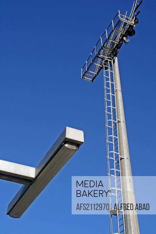 lamp, ladder, tower lighting, Sports City Joan Gamper, FC Barcelona, Sant Joan Despi, Catalonia, Spain