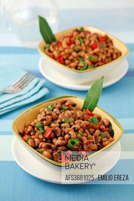 Stewed beans. Oriental style.