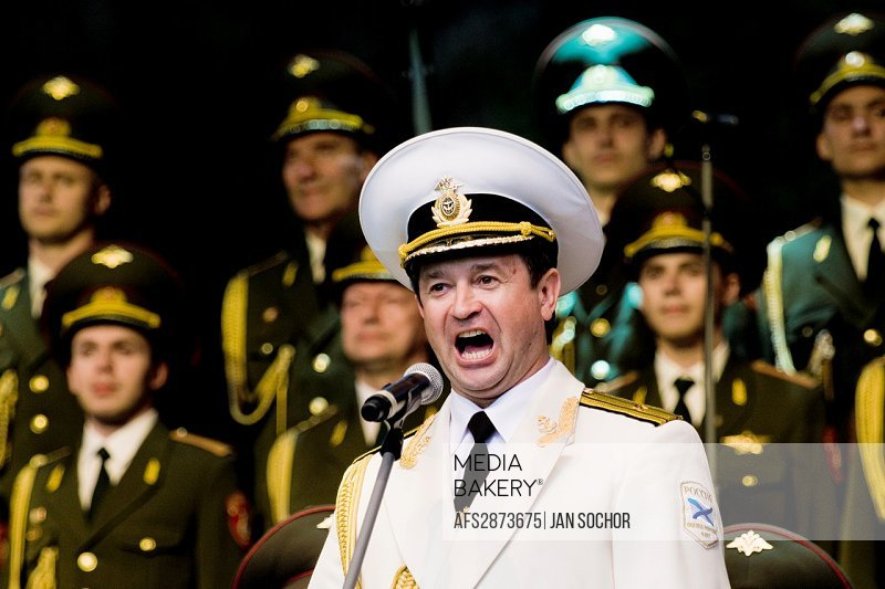 "Vadim Petrovich Anayev, the tenor soloist of the Russian Army Choir ""Alexandrov Ensemble"", singing solo part in the concert given in a small Czech tow..."