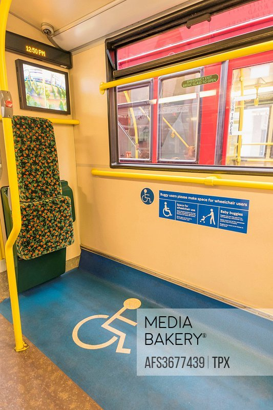 England, London, Disabled Access Area of Double Decker Bus