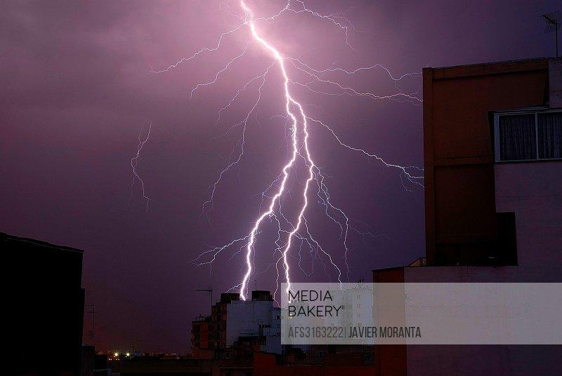 Lightning, Palma de Mallorca, Balearic Islands, Spain
