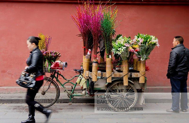 China, Chengdu, Sichuan, flower seller