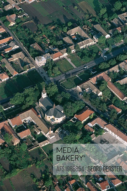 aerial views of Hungary´s cultural heritage: centre of the village of Gara with the St  Ladislas Roman-Catholic church, built in 1780 in late Baroque ...