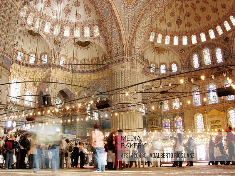 Daytime Interior Blue Mosque Istanbul Turkey