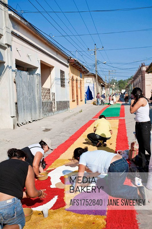 Honduras, Copan, Santa Rosa De Copan, Historic town center, Samana Santa, Preparing Sawdust carpets, carpets of flowers and sawdust fro Holy Cross Pro...