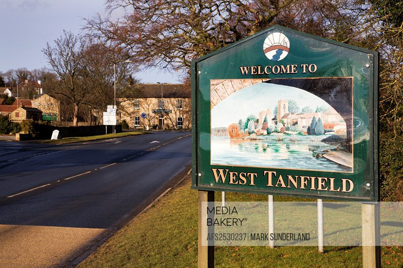 Welcome to West Tanfield Sign West Tanfield North Yorkshire England