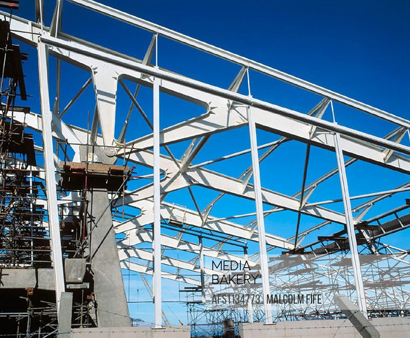 Steel framework, leisure centre under construction