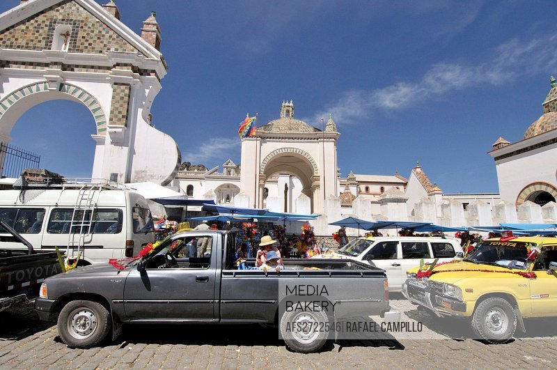 Basilica of Our Lady of Copacabana. Copacabana is the main Bolivian town on the shore of Lake Titicaca.  Our Lady of Copacabana is the patron saint of...